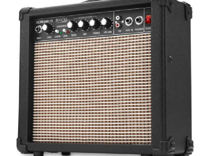 AMPLIFICATEUR GUITARE ELECTRONIQUE 15W GUITAR AMP 2 CANAUX EQ 3 BANDES AUX MP3
